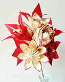 Rose Lily Love Paper Bouquet- 12 one of a kind paper flowers, made to order, origami, romantic, first anniversary gift, bride, wedding