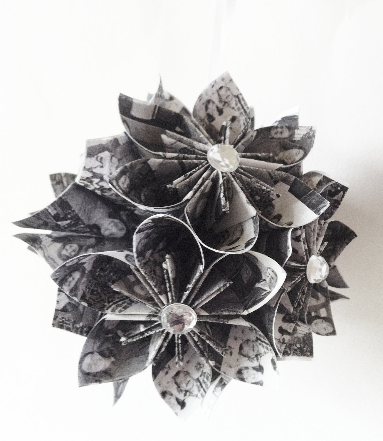 Paper Flower Memory Ornament- your family photos, 4 inch flower ball, black and white, one of a kind origami,  first anniversary
