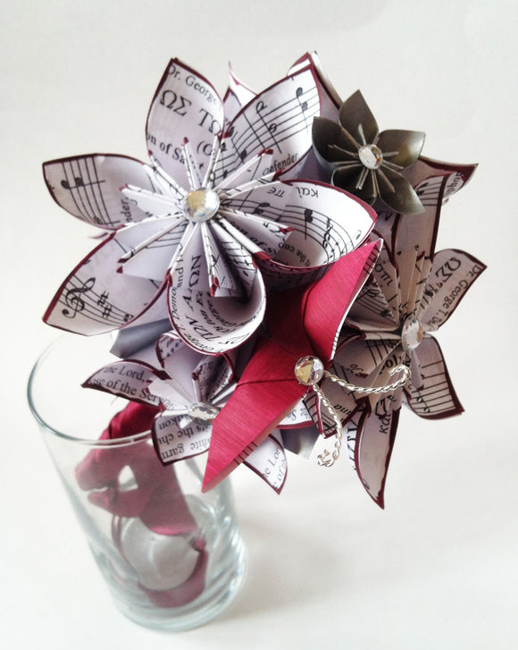 Paper flowers & Butterfly Bridesmaid Bouquet- 7 inch, one of a kind origami, destination wedding, alternative bouquet
