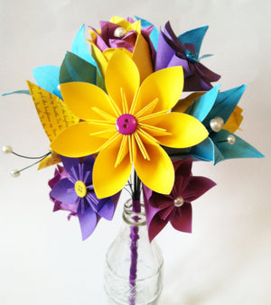 Paper Flower Spring Dozen- 1st anniversary gift, Paper rose, lilies, butterfly, customize, made to order, wedding bouquet, origami