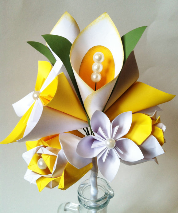 Calla Lily Paper Flower Bouquet- Spring wedding, first anniversary gift, made to order, origami, paper flower, paper rose