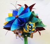 Rainbow Paper Flower Bouquet- Wedding bouquet, Made to order, origami, bridal bouquet, paper rose, paper lily, butterfly