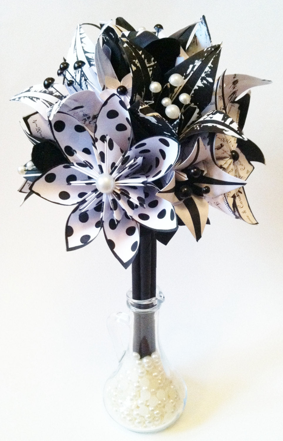 Origami Flowers & Lilies Wedding Bouquet- A personalized, one of a kind, non traditional, alternative, wedding bouquet
