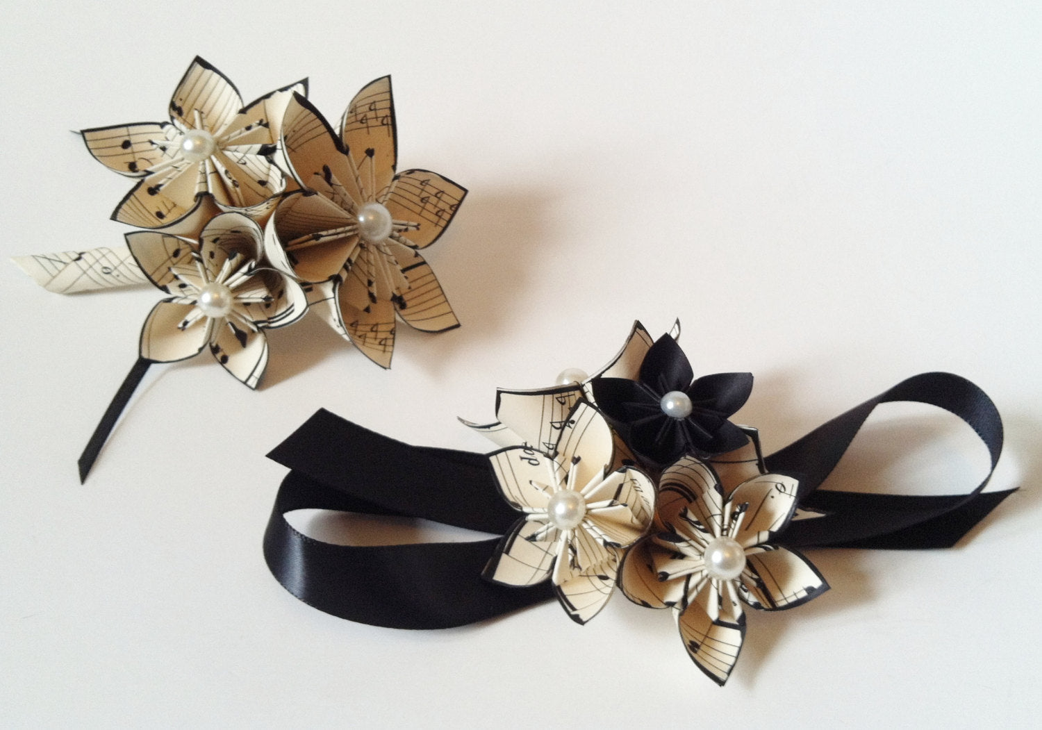 Date Night- Corsage & Boutonniere set, prom, homecoming,military ball, wedding accessory,handmade, one of a kind, personalized paper flowers