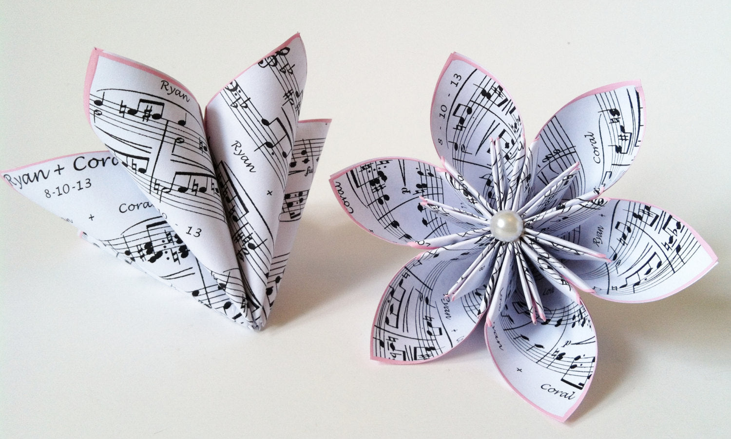 Personalized sheet music- set of 2 paper flowers, one of a kind, origami, wedding decor, chic, centerpieces