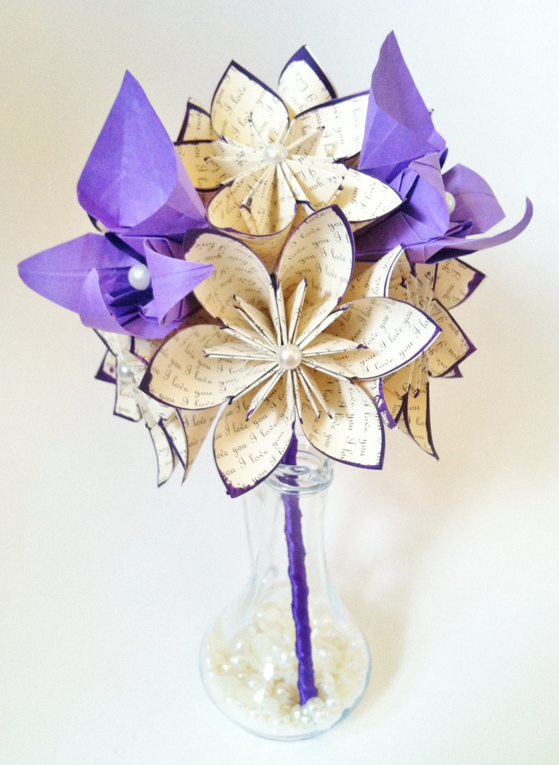 "A dozen ""I Love You's"" - 12 paper flowers and orchids, one of a kind gifts for her, 1st anniversary, bouquet, made to order"
