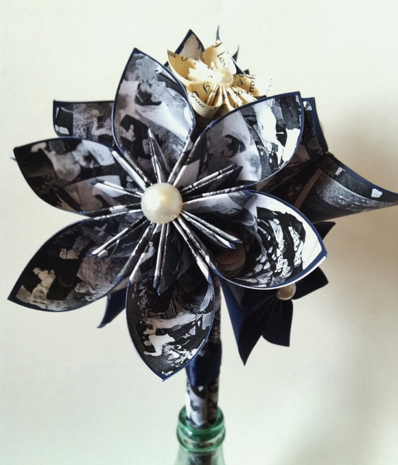 Memory Bouquet- paper flowers, origami, use your photos, baby annoucement, bridal annoucement, anniversary gift