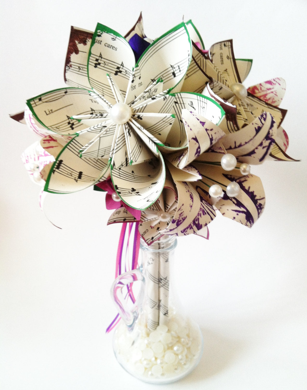 Music and 4 Lilies Bridal Bouquet- 10 inch, 19 paper flowers, one of a kind, made to order, destination wedding, 1st anniversary