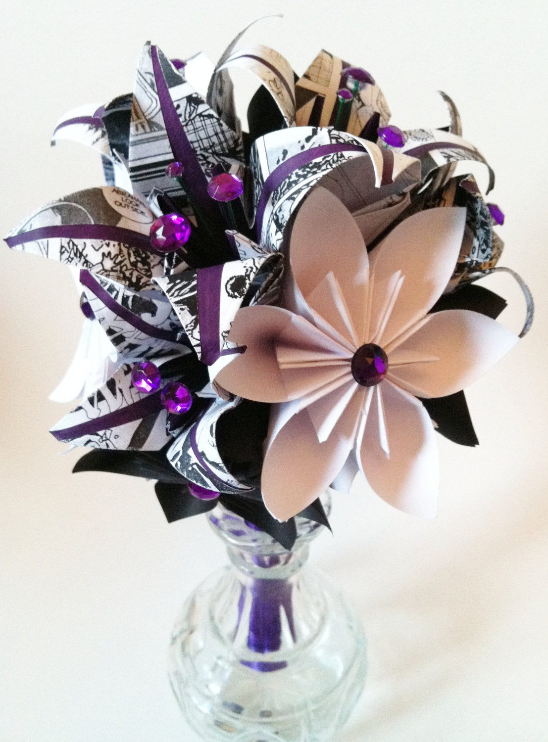 Bridesmaid Flowers & Lilies Paper Bouquet- 7 inch, 15 flowers, one of a kind, custom wedding, origami,  paper flowers