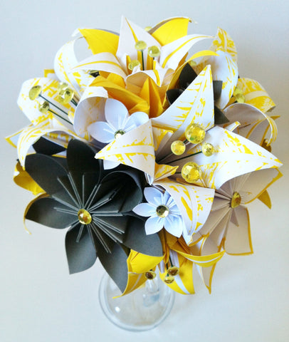 Paper flowers & lilies Bridal bouquet- one of a kind paper flowers, perfect for her wedding, origami, lily, destination wedding