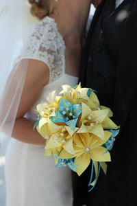 Paper Flower Brides Bouquet- handmade paper flowers, paper lilies, perfect for her, summertime wedding, one of a kind, origami