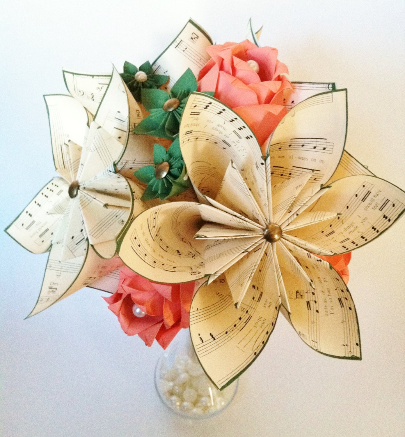 Bridal Music & Roses Bouquet- Paper Flowers, One of a kind, Perfect for her, origami, paper rose, first anniversary gift,