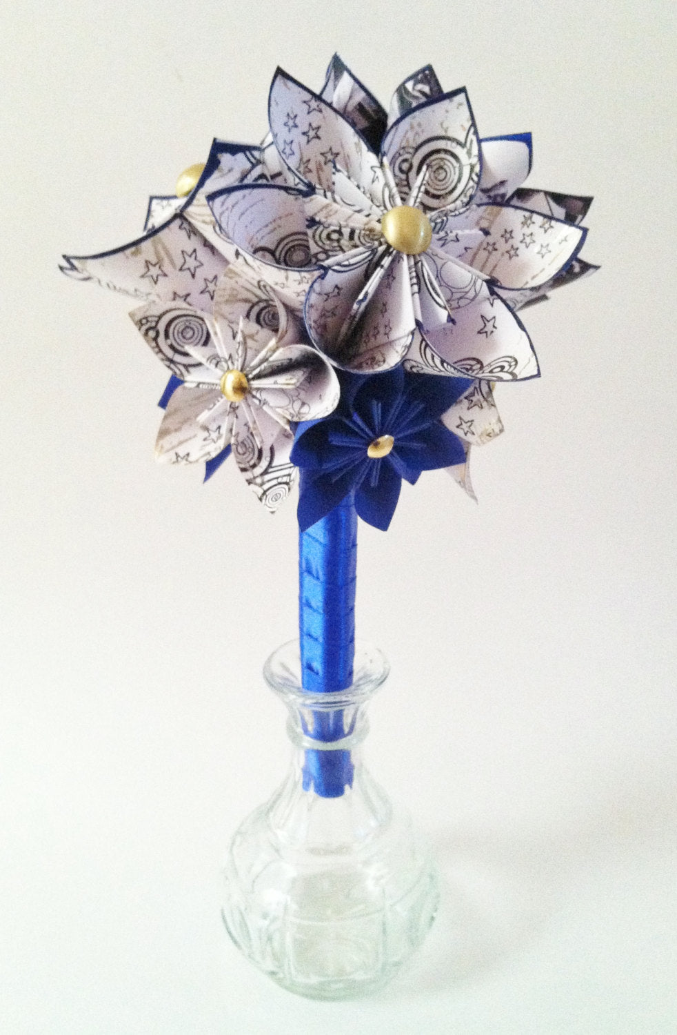 Doctor Who Inspired Wedding Bouquet- one of a kind, origami, Gallifreyan, flowers, whovian, first anniversary gift, perfect for her, geekery
