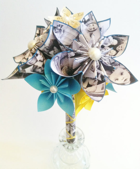 Paper Memory Bouquet- perfect for her, perfect for mom, gift, first anniversary, your family photos, one of a kind, origami, graduation