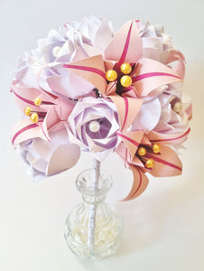 Paper Roses & Lilies Bridal Bouquet-dozen roses, 8 lilies, personalized for you, wedding bouquet, traditional 1st anniversary gift, origami