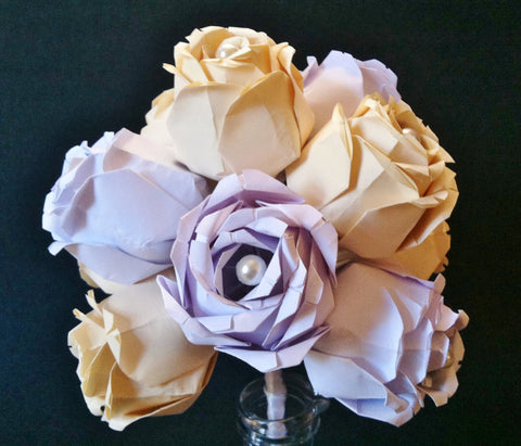 Dozen Paper Roses- 12 custom roses, handmade first anniversary gift, paper flowers, wedding bouquet, 1st anniversary gift, perfect for her