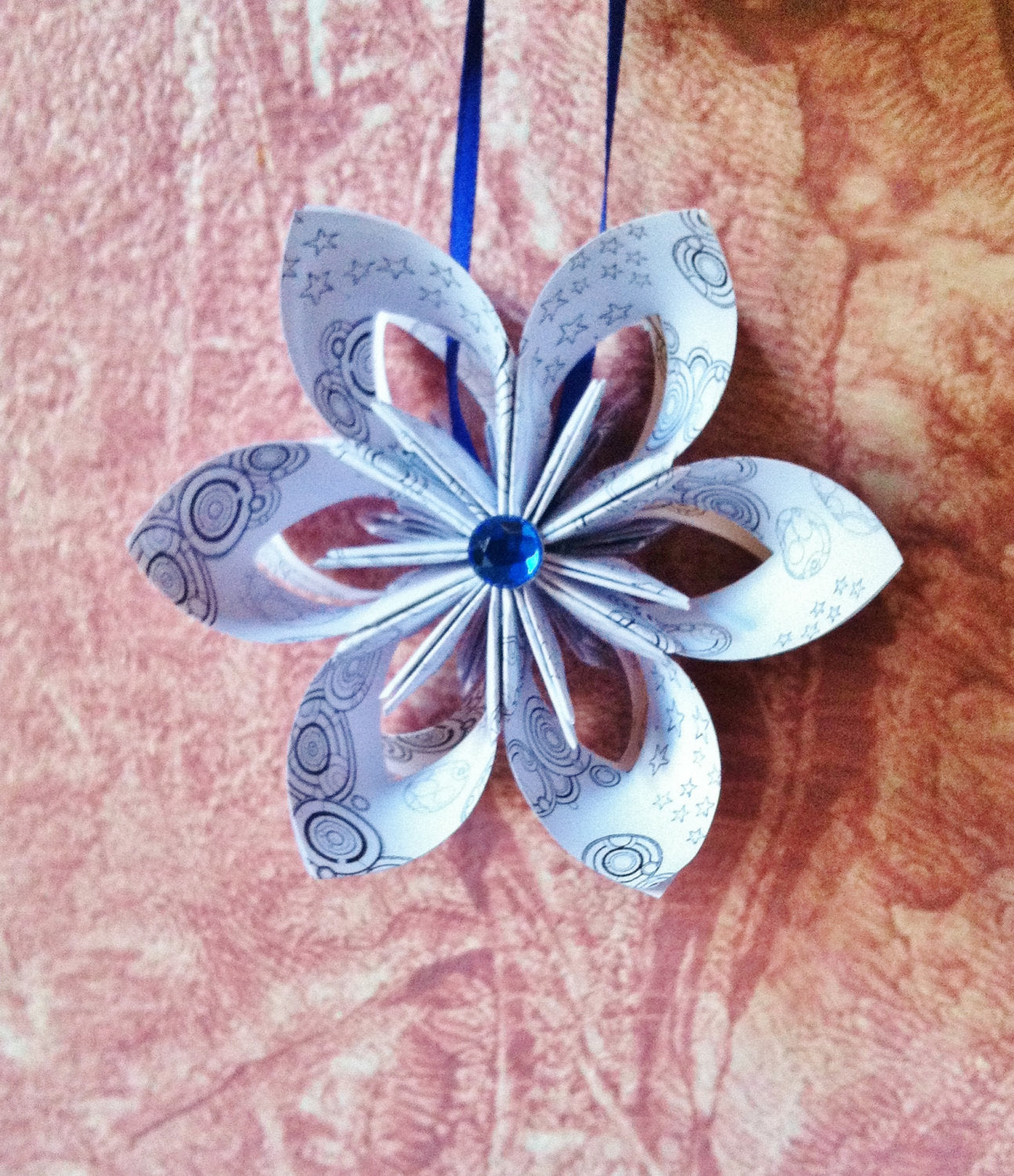 Doctor Who Ornament- Gallifreyan Falling Star, one of a kind, origami, Whovian Geekery, Christmas Decor, Holiday Decoration