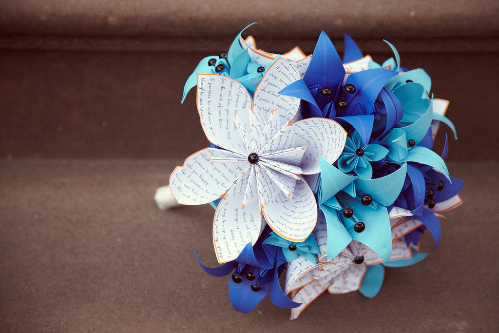Bridal Bouquet with Text flowers & Lilies- 12 inch alternative bouquet, one of a kind origami, destination wedding, paper flowers, something blue