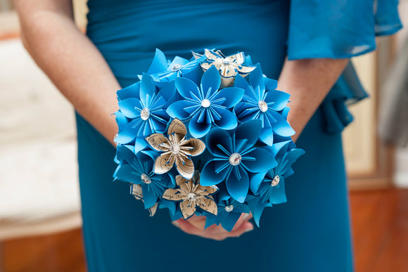 Something Blue Paper Flower Wedding Bouquet- bridal, bridesmaid, origami, round bouquet, made to order, one of a kind, non traditional