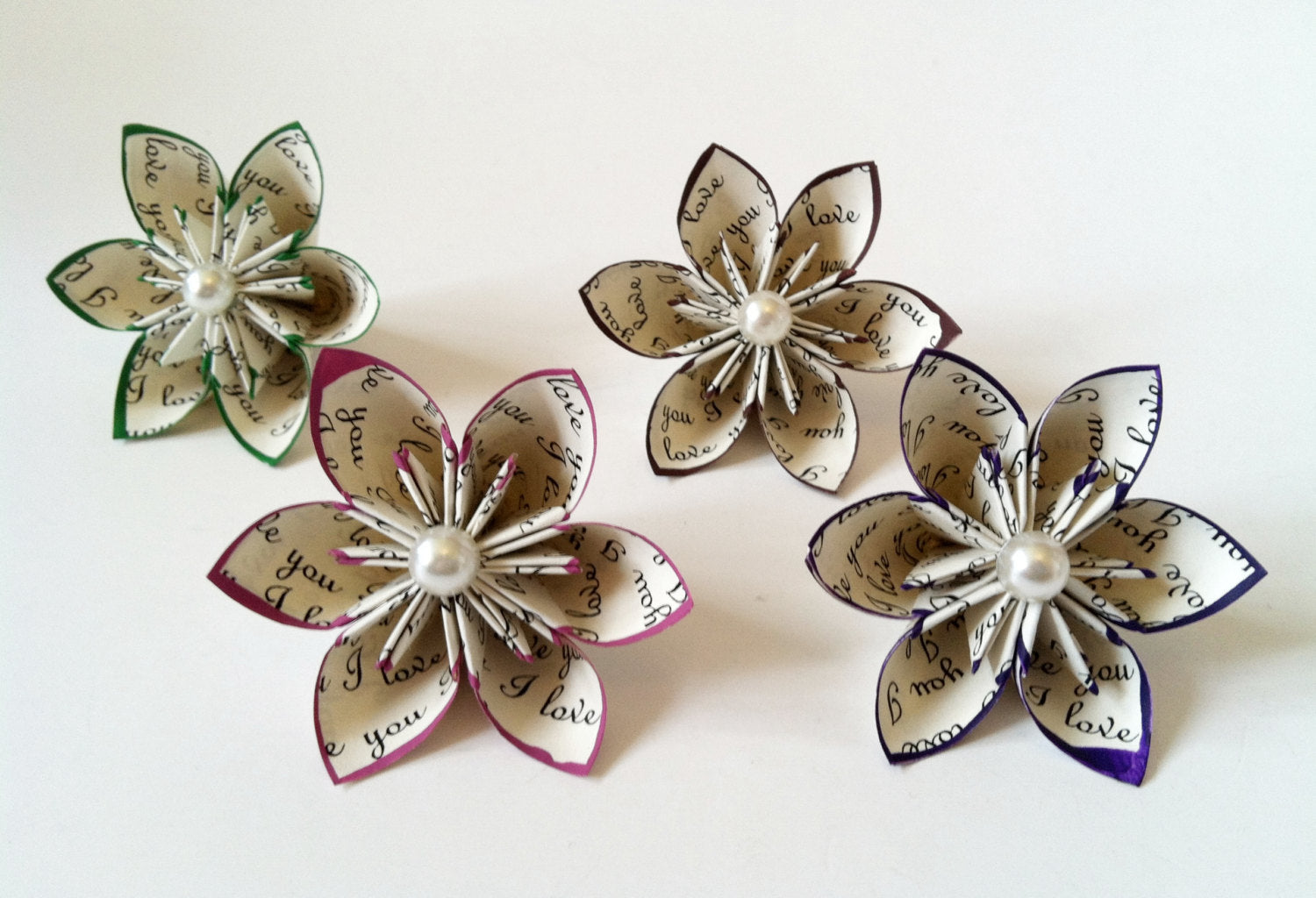 I Love You paper flowers- Set of 10, handmade, wedding, favor, origami, bouquet, decoration