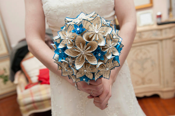 Wedding bouquet of paper flowers- handmade, bridal bouquet, one of a kind, offbeat bride, alternative bouquet