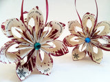 Twins First Christmas Ornaments- 2 falling star ornaments, personalized, your choice of color, one of a kind gift, origami, paper flowers