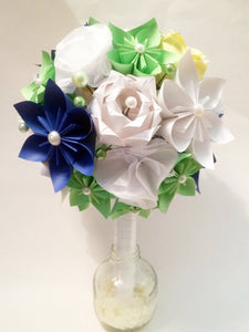 Bridal bouquet of roses, carnations & traditional flowers- paper flowers, one of a kind, customized wedding bouquet, alternative,anniversary
