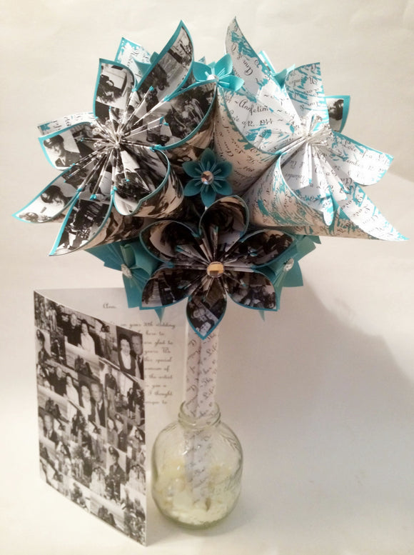 Memory Bouquet- 12 inch with gem bursts, one of a kind gift, your photos, anniversary bouquet, wedding bouquet, Christmas gift,paper flowers