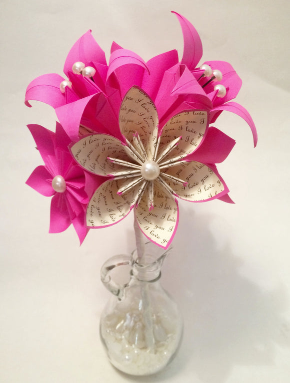 Paper Lily Wedding Bouquet- 9 handmade paper flowers, one of a kind, made to order, bride, bridesmaid, love, centerpiece, decoration