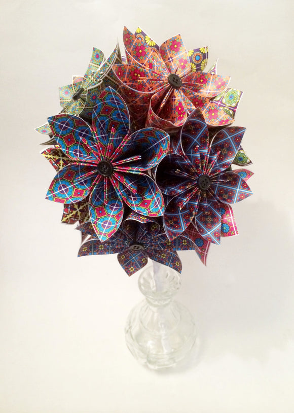 A Dozen Paper Flowers- Talavera origami, one of a kind bouquet, use any digital print, dozen roses, wedding bouquet, anniversary gift