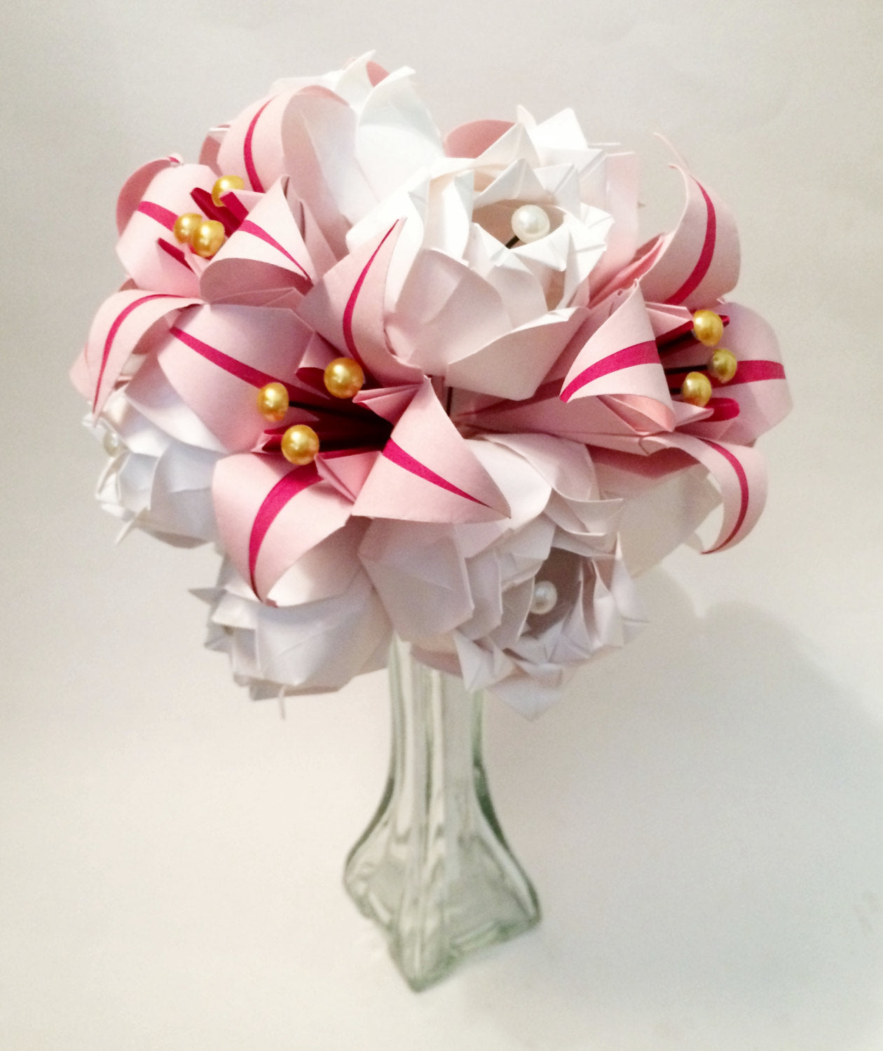 Paper Roses & Lilies bouquet- one of a kind origami, perfect for her, anniversary gift, wedding bouquet, paper flowers, wedding bouquet