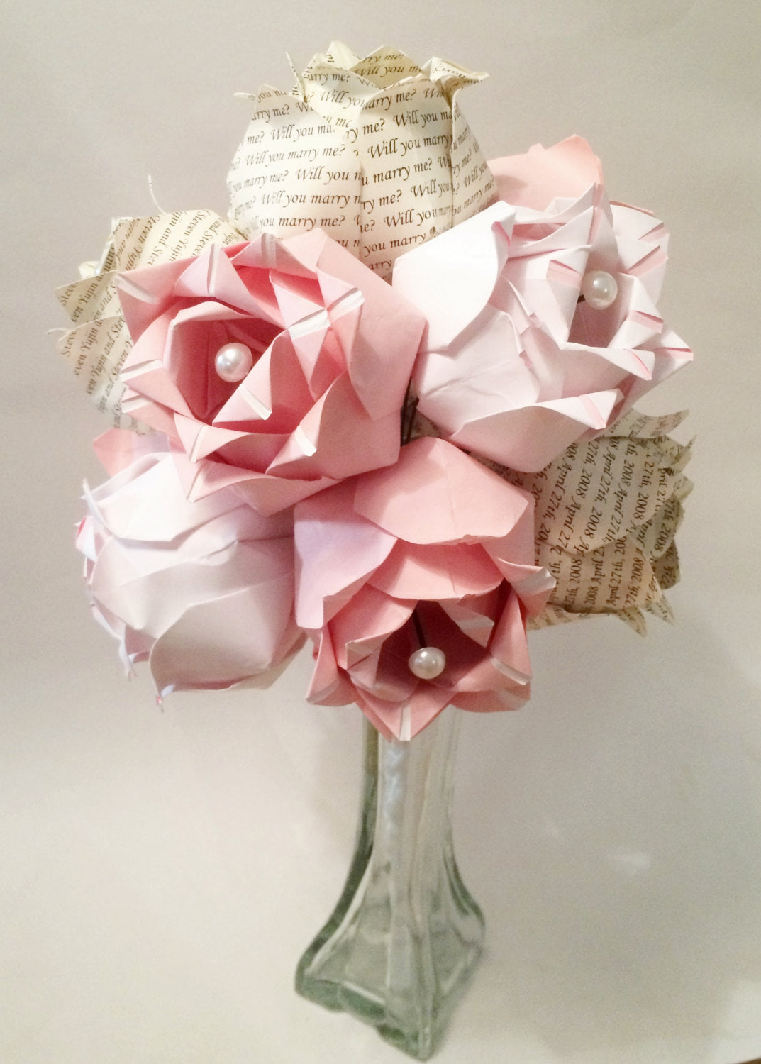 Dozen Two-toned Paper Roses- first anniversary gift, perfect for her, Personalized, one of a kind, alternative gift, wedding bouquet,flowers