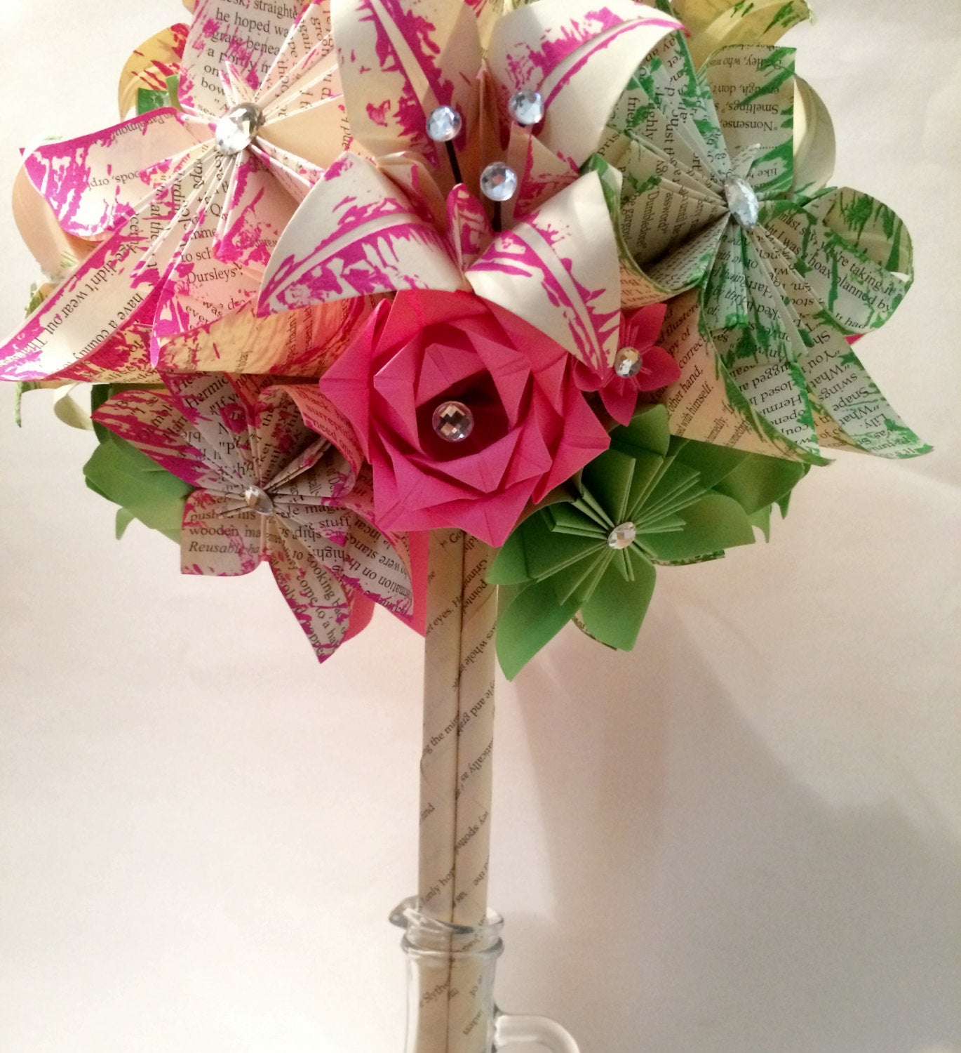 Roses & Lilies custom paper brides bouquet- made to order, one of a kind, origami, paper flowers, alternative bouquet, non traditional