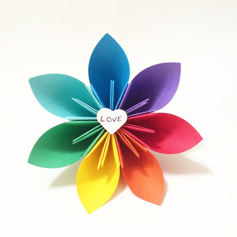 Love wins- rainbow paper flower