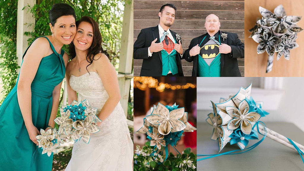 Sheet Music & Comic Book Wedding Package- one of a kind paper flowers, origami bouquets, bride, bridesmaid, grooms boutonniere