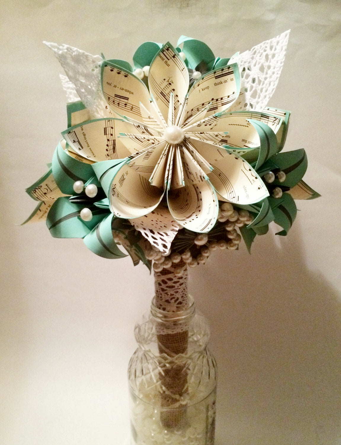 Lace Pearls & Burlap Bridal Bouquet- one of a kind paper bouquet, origami, paper flower wedding bouquet, brides bouquet