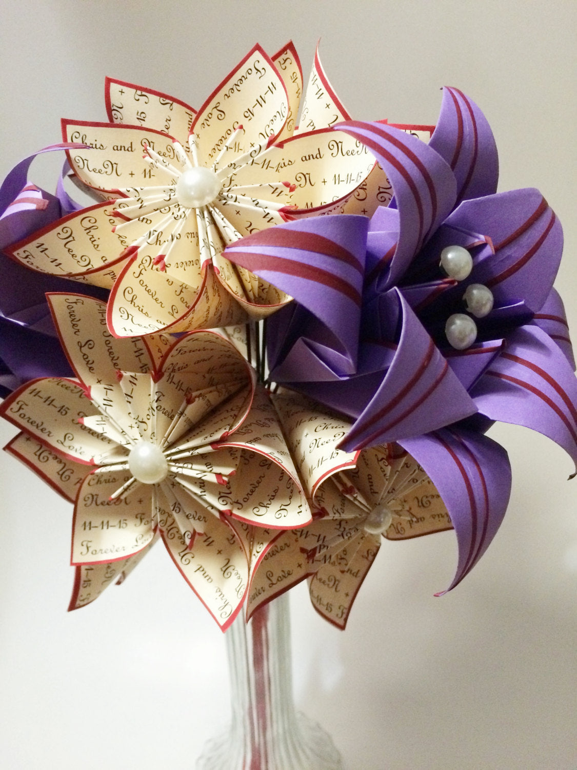 "A Dozen ""I Love You's"" - 12 paper flowers with Stargazer lilies, gifts for her, 1st anniversary bouquet,Christmas gift,one of a kind origami"