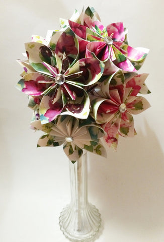 Paper Flower Bouquet of Watercolor Flowers- one of a kind bouquet, a dozen origami flowers, wedding bouquet, anniversary gift