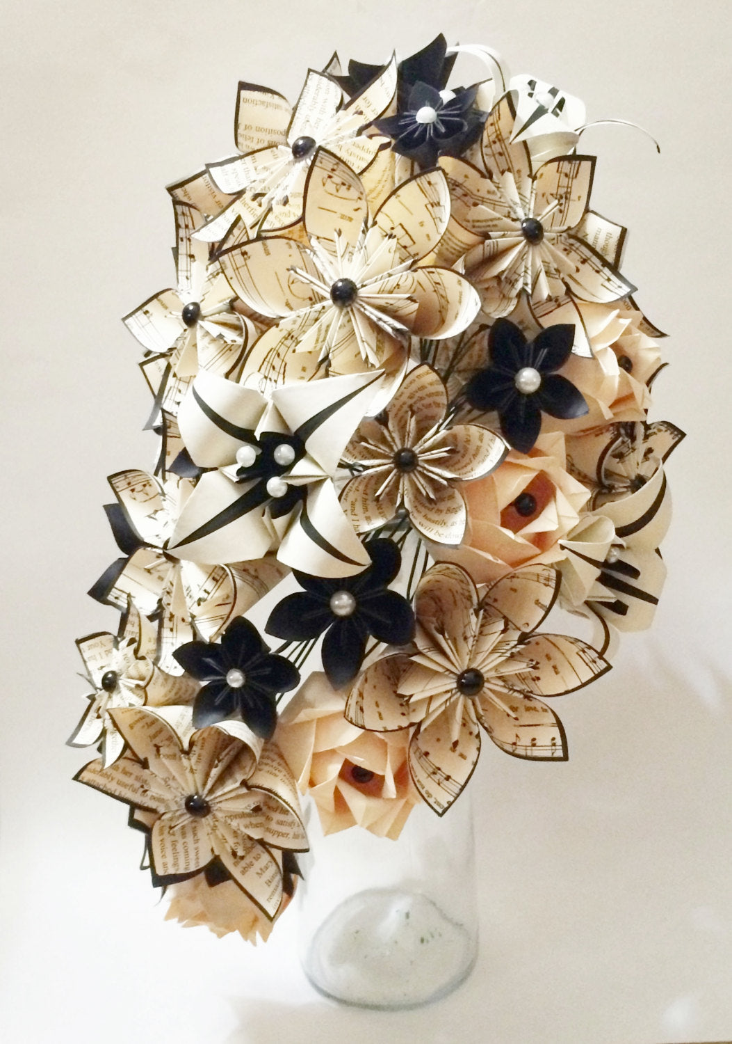 Cascading Bouquet- Paper Bouquet, one of a kind origami, Bridal bouquet, kusudama, paper roses and lilies, your color scheme