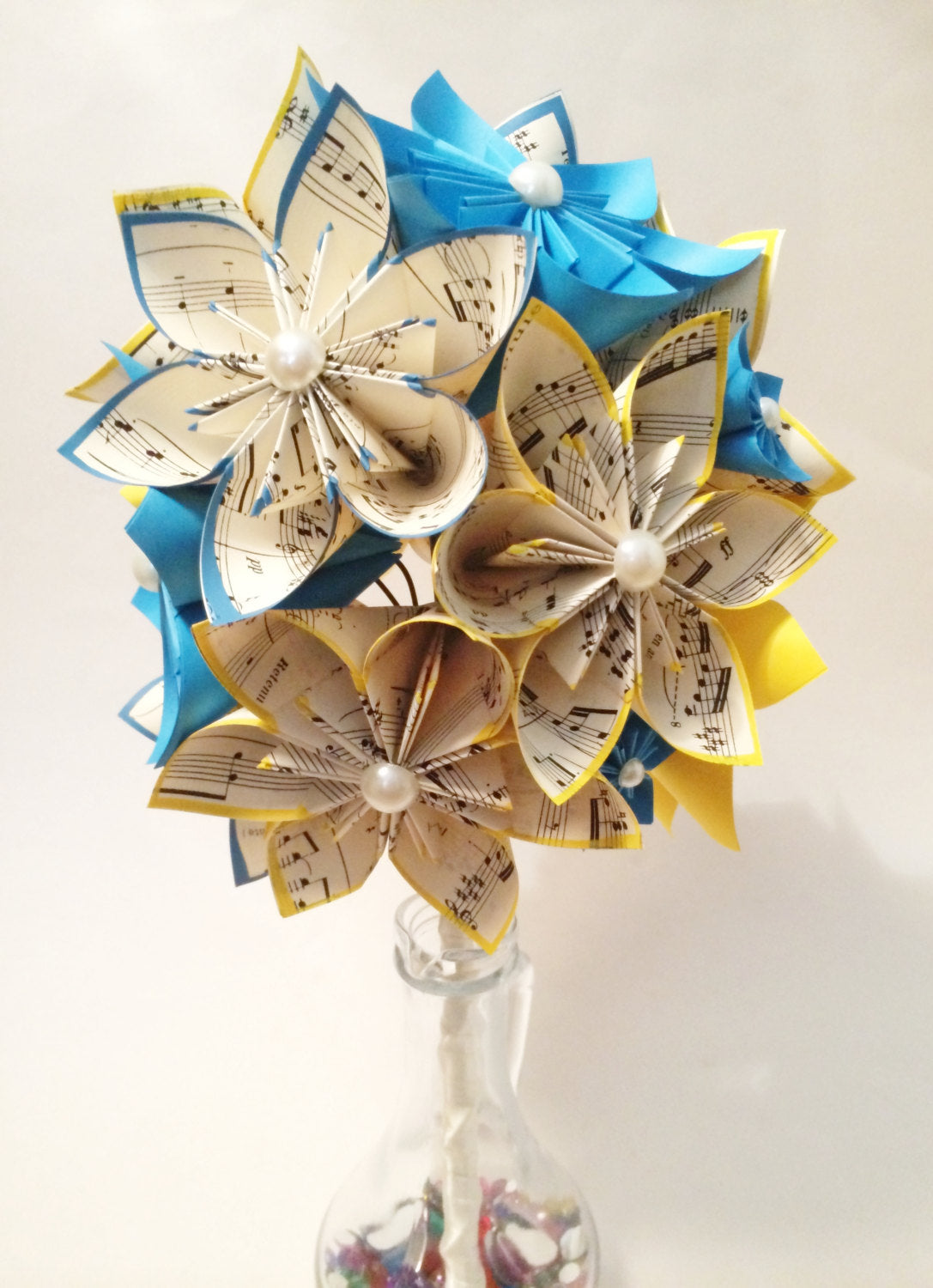Dozen Paper Flowers-sheet music & color of your choice, gift, wedding, 1st anniversary, gifts for her, bouquet, origami, made to order