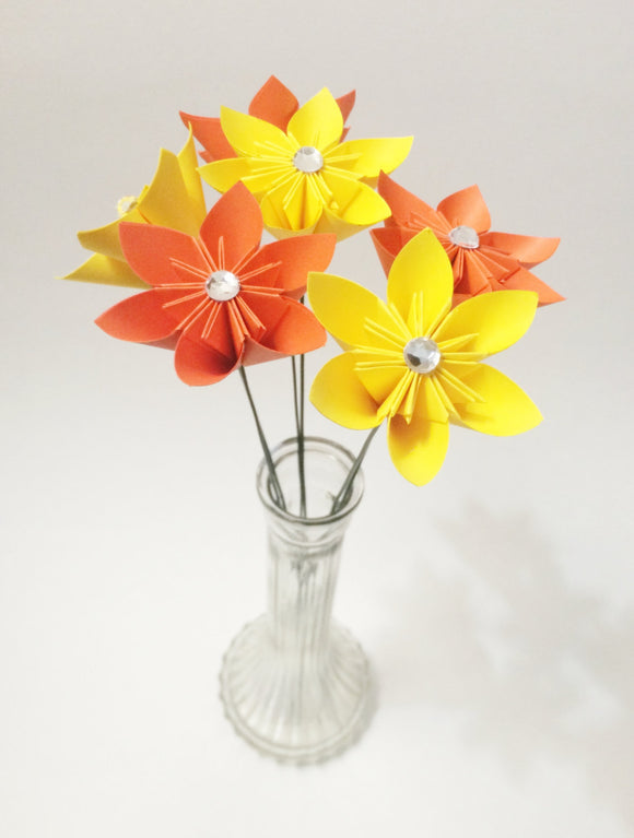 Set of 6 Stemmed Colorful Paper Flowers- Ready To Ship, perfect for her, handmade anniversary gift, wedding decor, origami