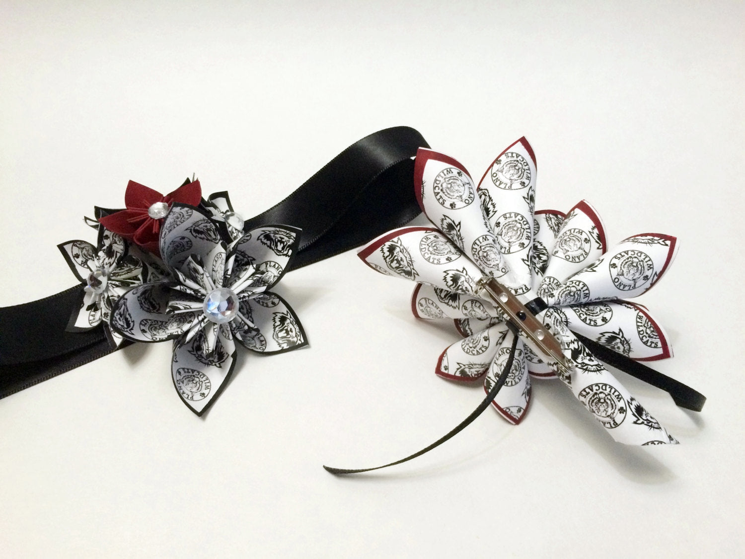 Prom Night- Custom Corsage & Boutonniere set, Your School Logo, military ball, homecoming, formal accessory, handmade, one of a kind