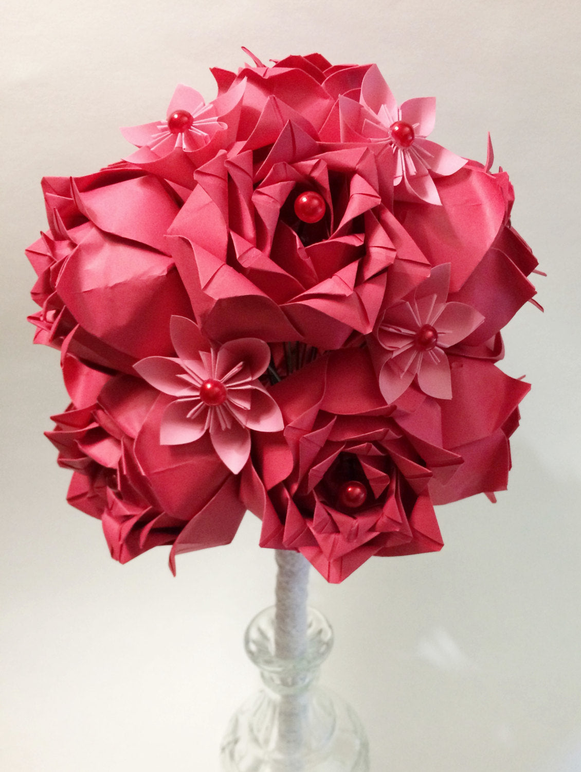 Dozen Deluxe Paper Roses- handmade paper flowers, first anniversary gift, red roses, wedding bouquet, perfect for her, handmade rose, love