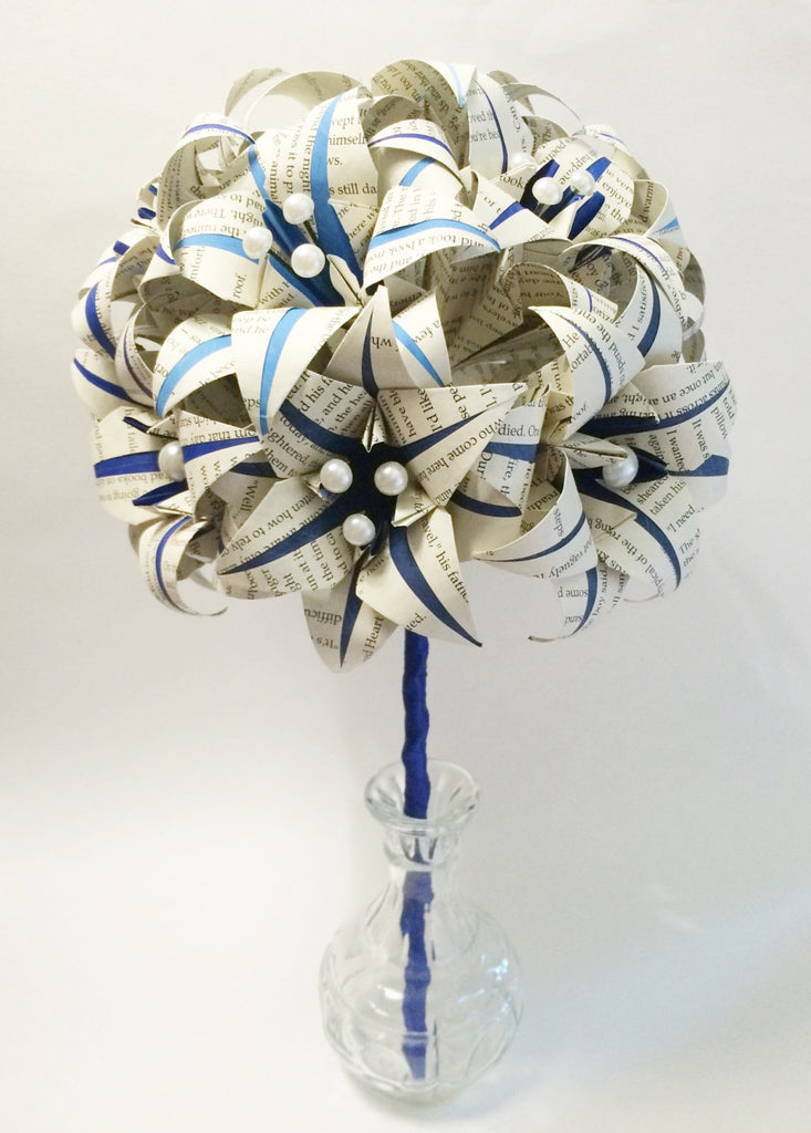 Book Bouquet of Stargazer Lilies- Blue bouquet, paper flowers, origami lilies, brides bouquet, one of a kind anniversary gift