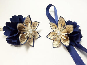 Date Night Corsage & Boutonniere set- hydrangea, mum, prom, homecoming, wedding accessory, handmade, one of a kind, paper flowers, origami