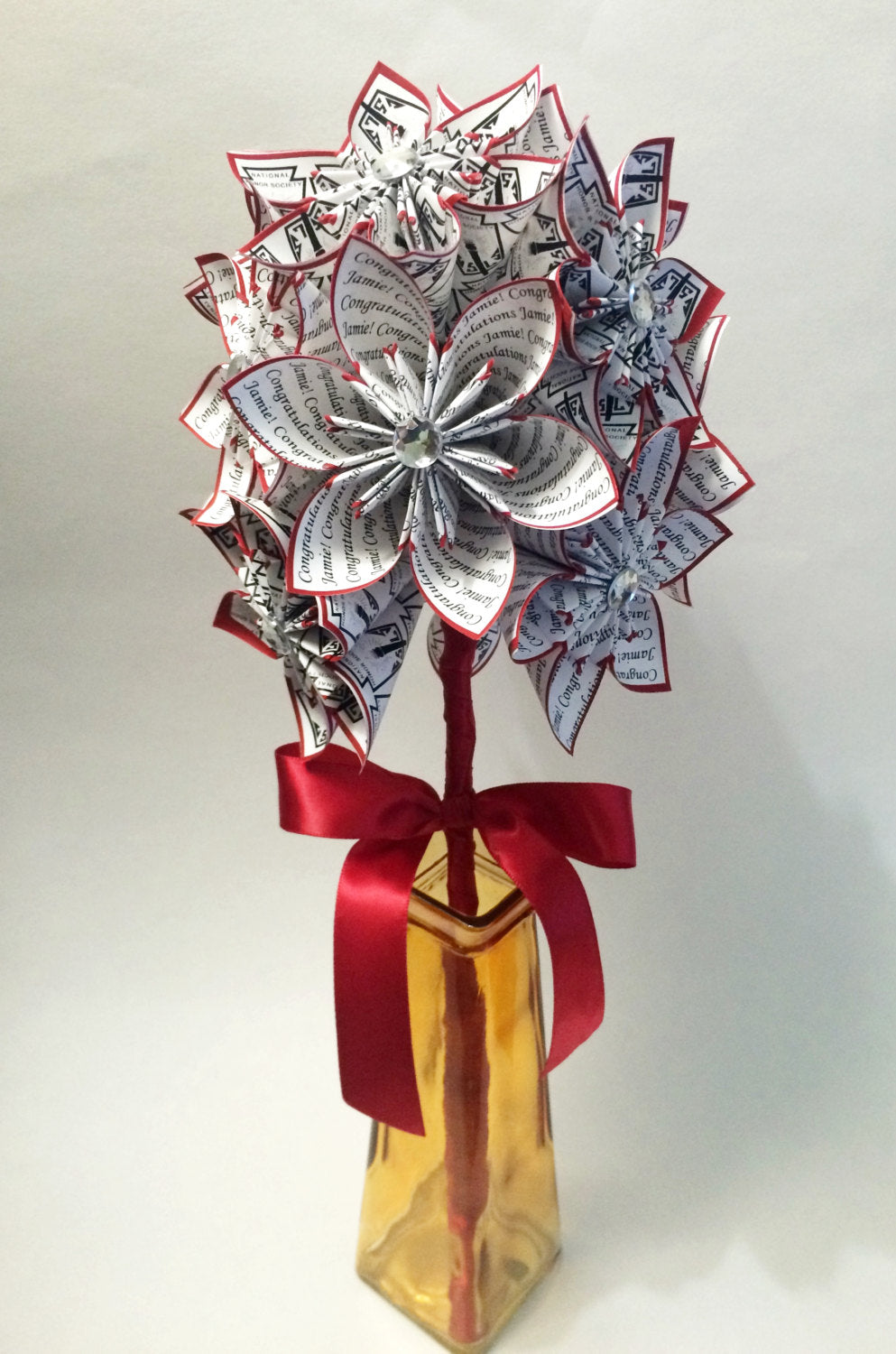 Congrats Grad National Honor Society- graduation gift, paper flowers, one of a kind, congratulations, origami, personalized gift