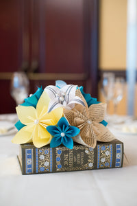 Paper Flower Wedding Centerpiece- origami flowers and lilies, made to order, one of a kind, wedding decor, your favorite book & color scheme