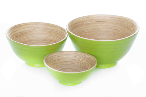 zimaroochy bamboo bowl set apple green (sbg039/40/41)