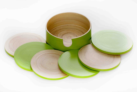 zimensis bamboo coasters apple green (sbg036)