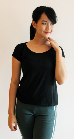 rigida plain scoop neck bamboo tshirt (bts012W)